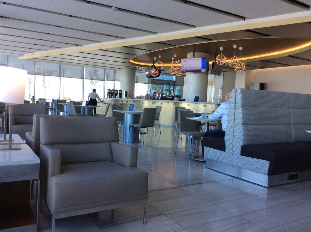 The empty United Club at the Los Angeles Airport.