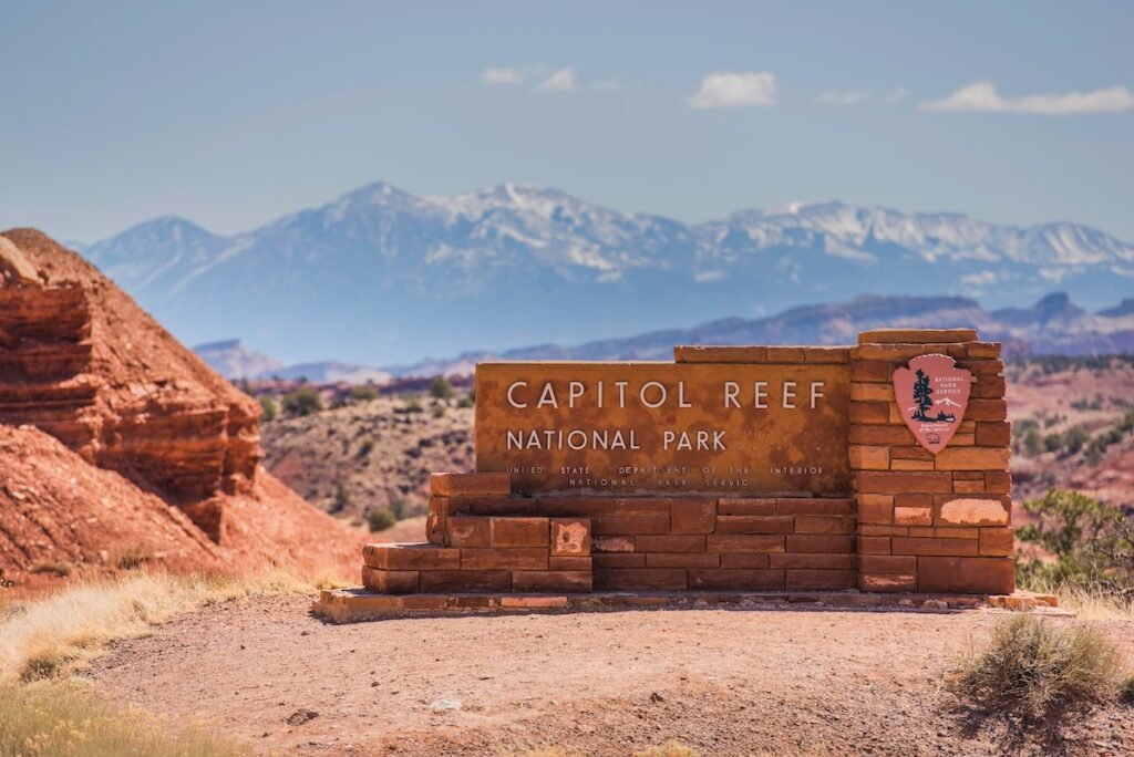 The entrance sign at Capitol Reef National Park.