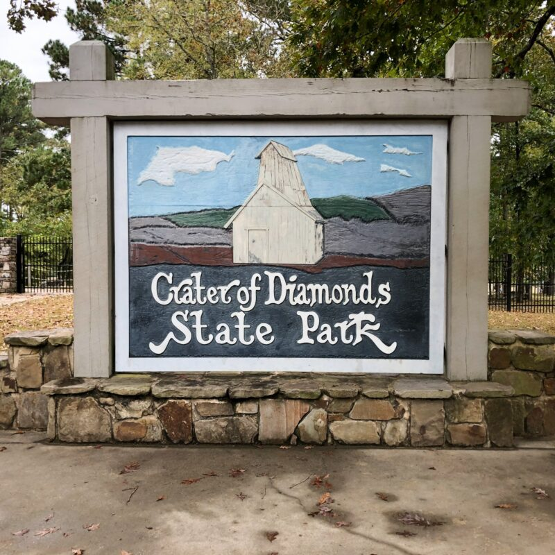 The entrance sign at Crater Of Diamonds State Park.