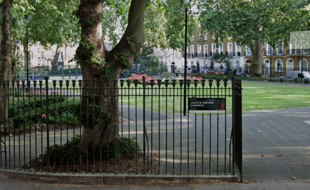 The entrance to Argyle Square gardens in London.