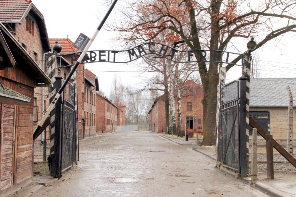 The entrance to Auschwitz-Birkenau in Poland.