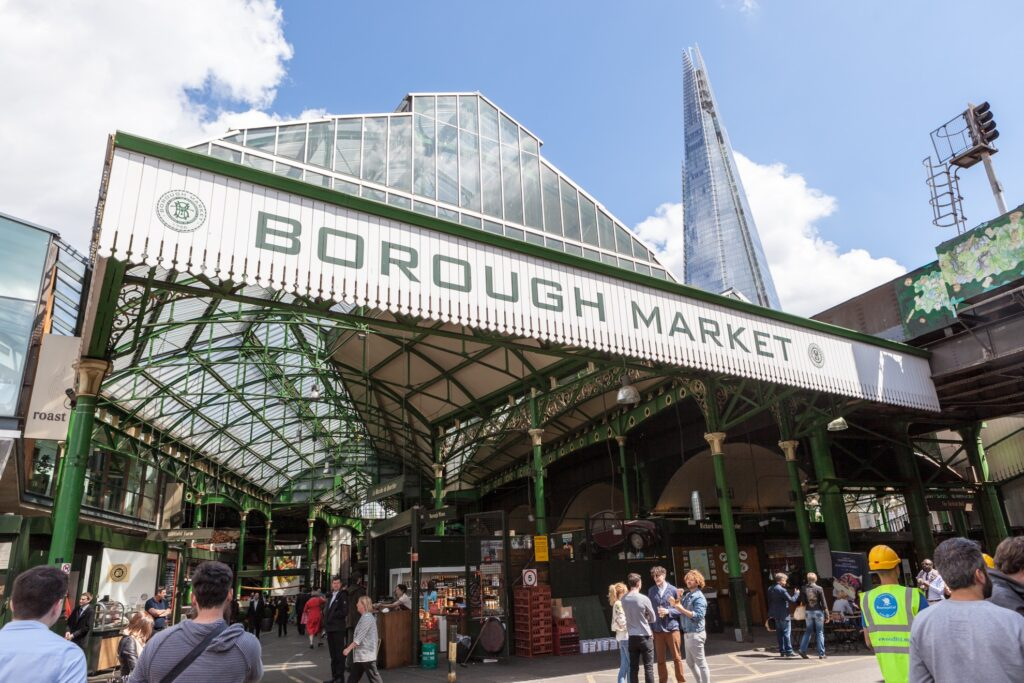 The entrance to Borough Market in London.