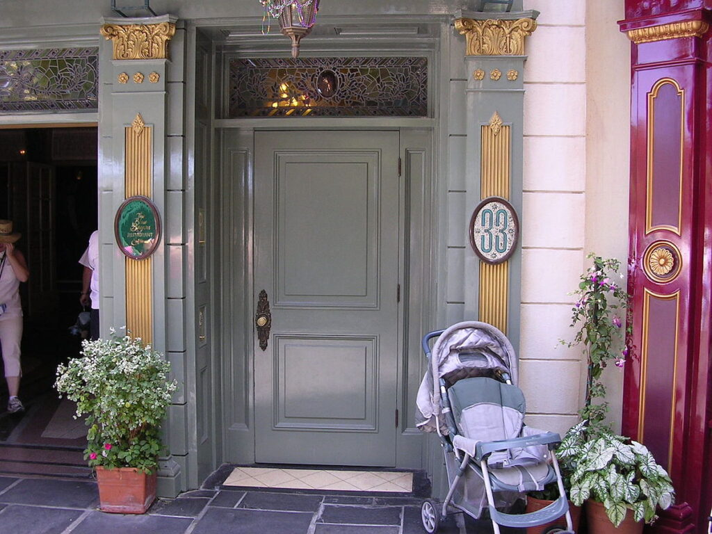 The entrance to Club 33 at Disneyland in California.