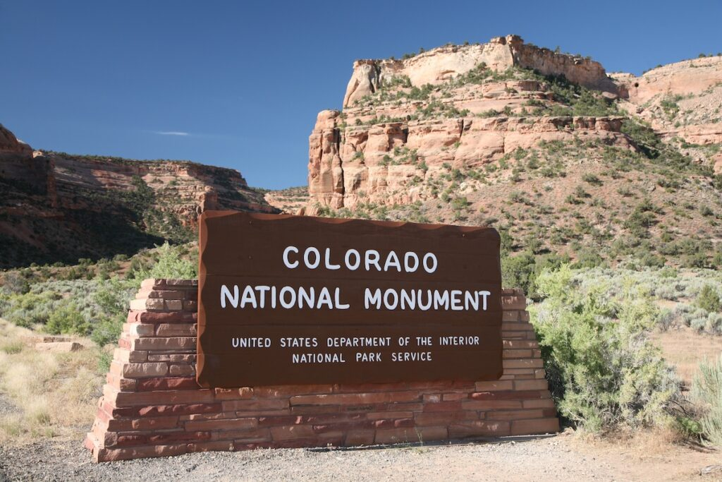 The entrance to Colorado National Monument.