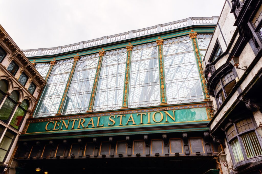 The entrance to Glasgow Central Station.