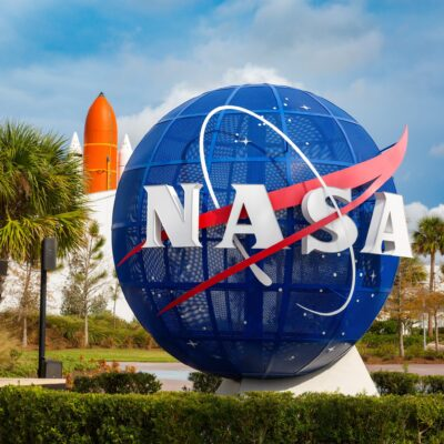 The entrance to Kennedy Space Center in Florida.