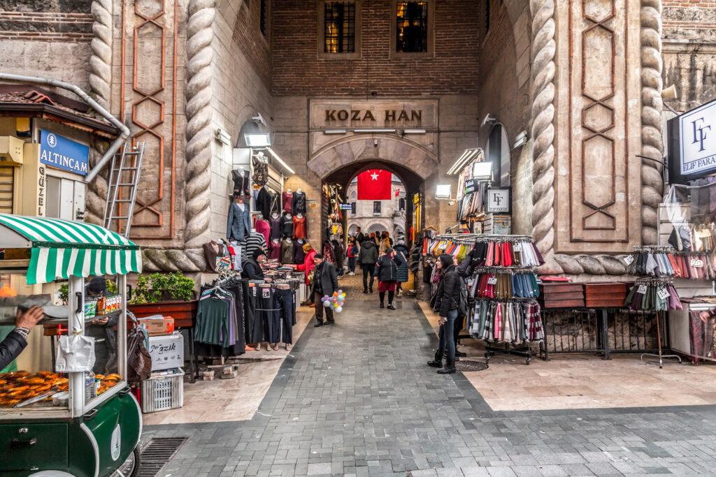 The entrance to Koza Han in Bursa, Turkey.