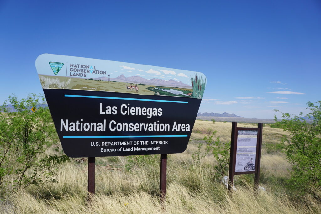 The entrance to Las Cienegas National Conservation Area.