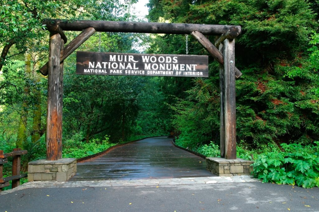 The entrance to Muir Woods National Monument.