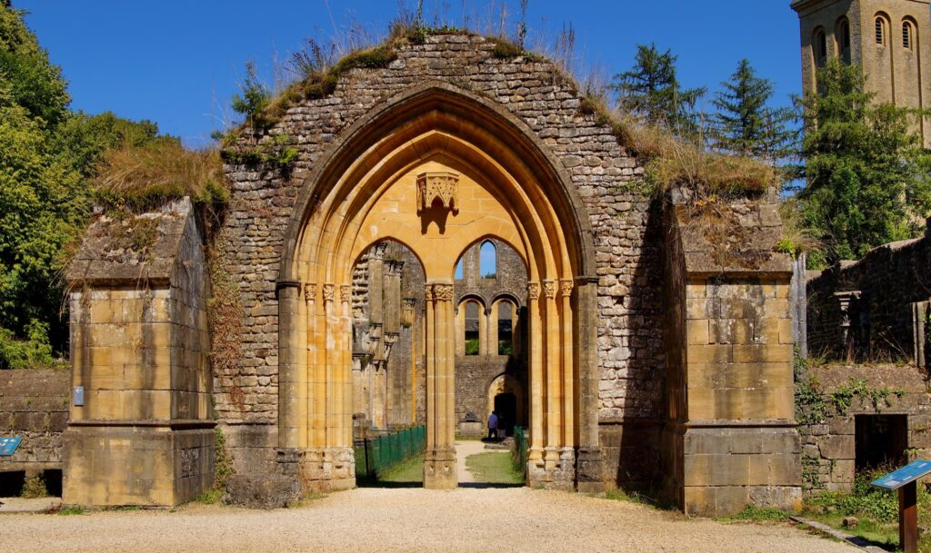 The entrance to Orval Abbey.