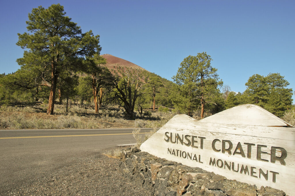 The entrance to Sunset Crater National Monument.