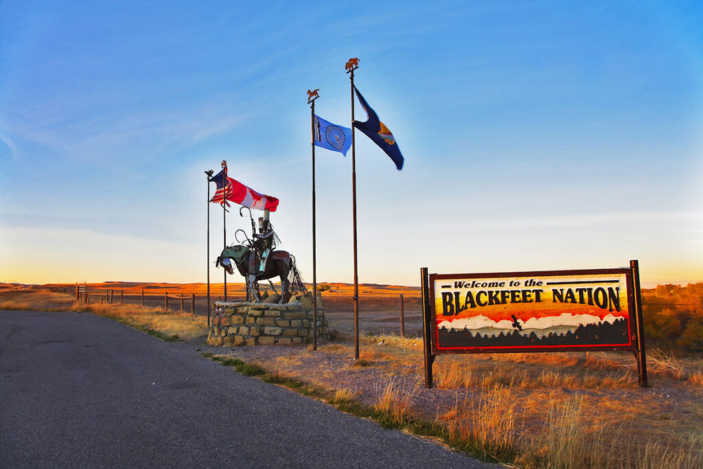 The entrance to the Blackfeet Reservation.