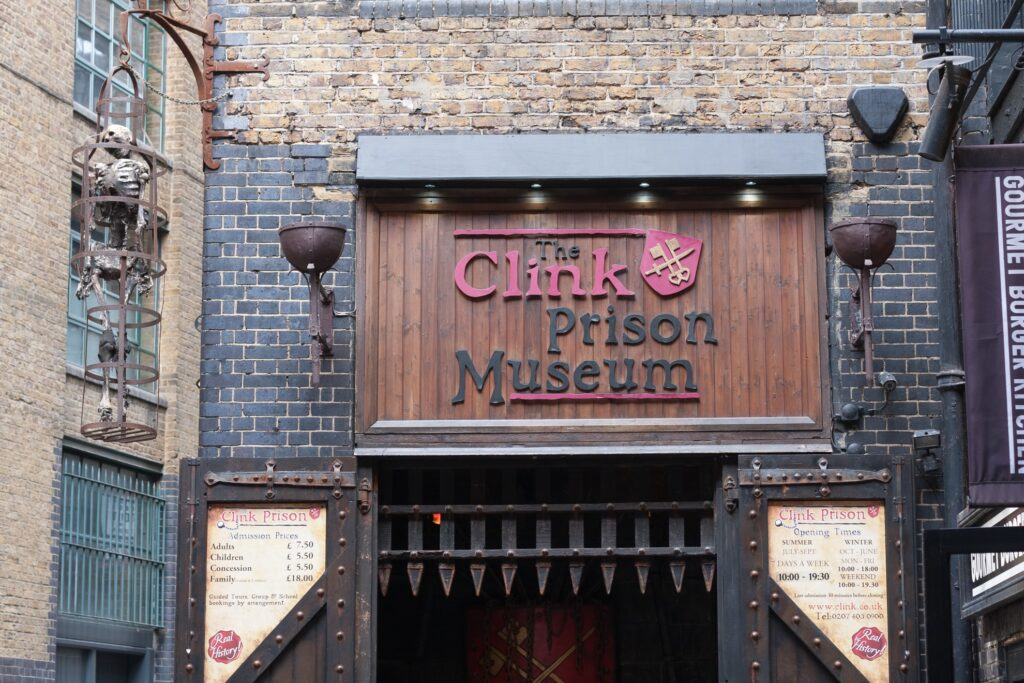 The entrance to the Clink Prison Museum.