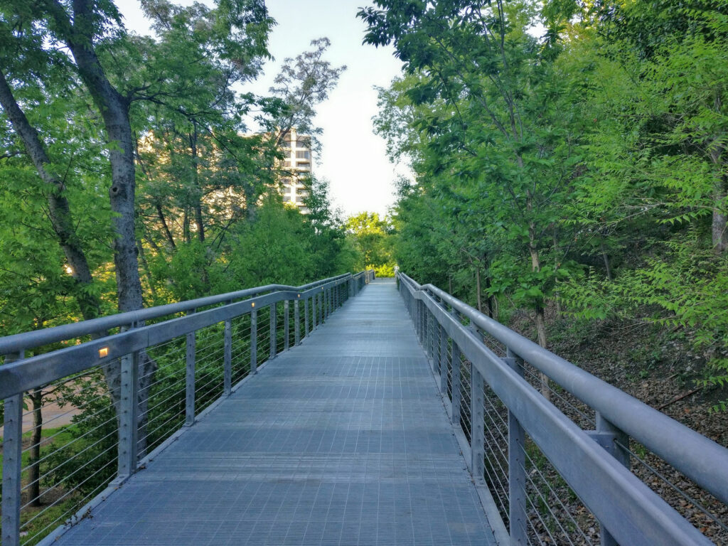 The entrance to the Katy Trail in downtown Dallas.
