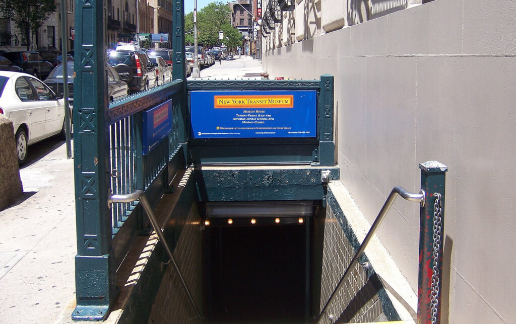 The entrance to the New York Transit Museum.