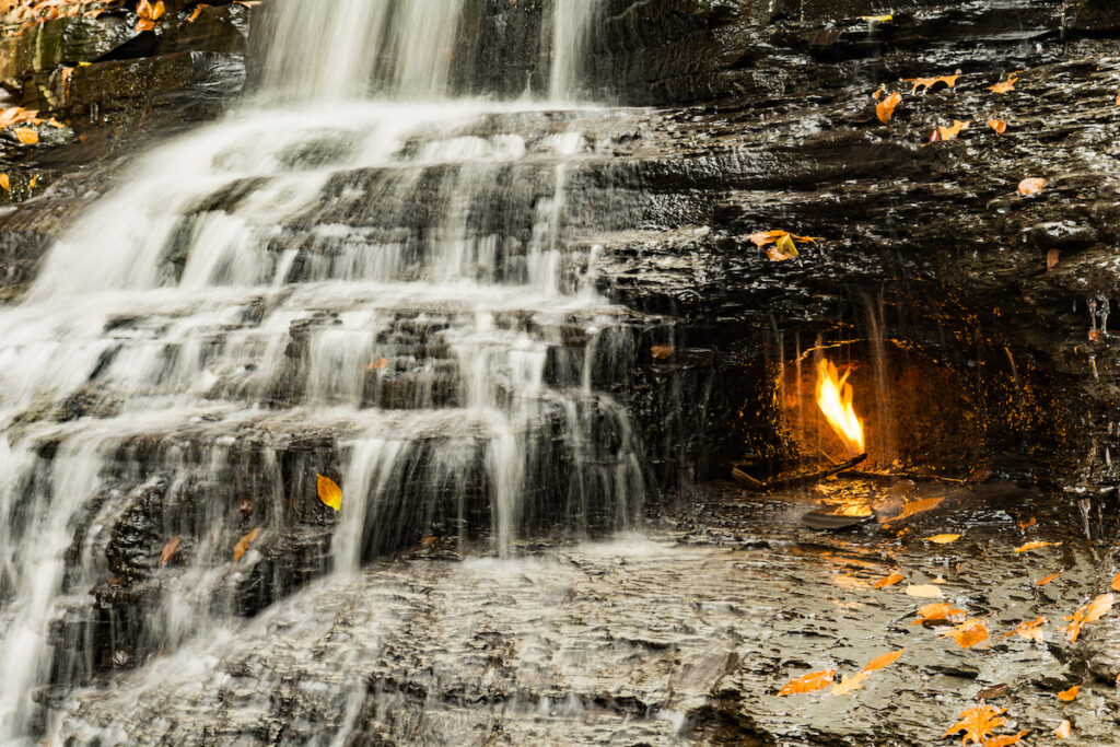 The Eternal Flame Falls in Chestnut Ridge.