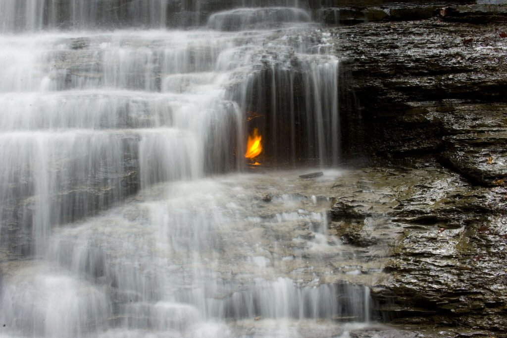 The Eternal Flame under the falls.