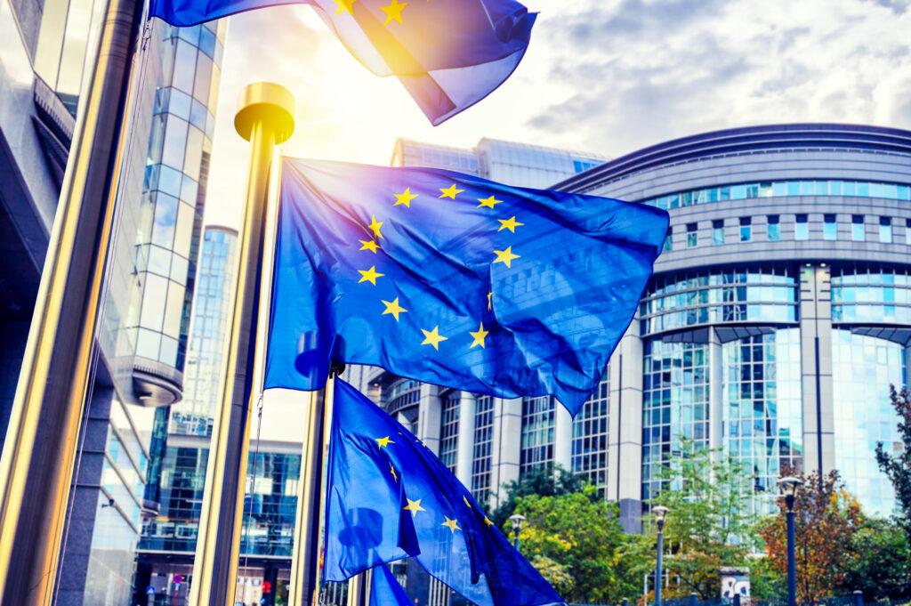The European flag outside a parliament building.