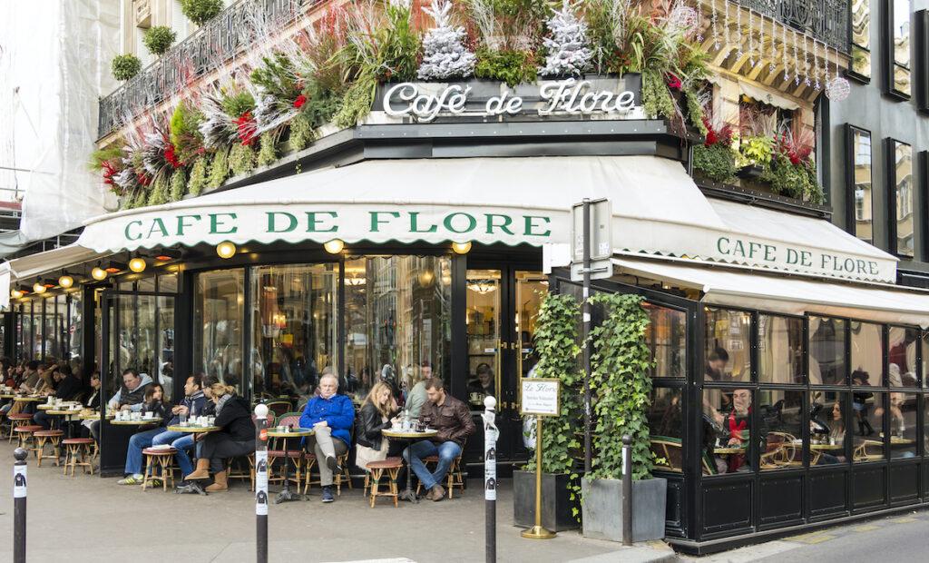 The exterior of Cafe de Flore.