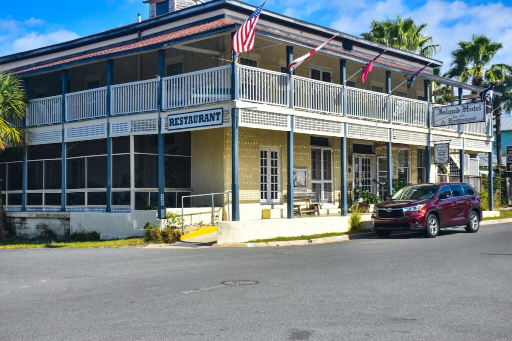 The exterior of Island Hotel.