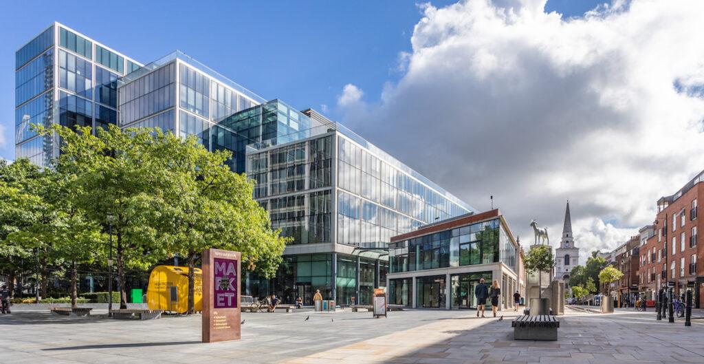The exterior of Spitalfields Market.