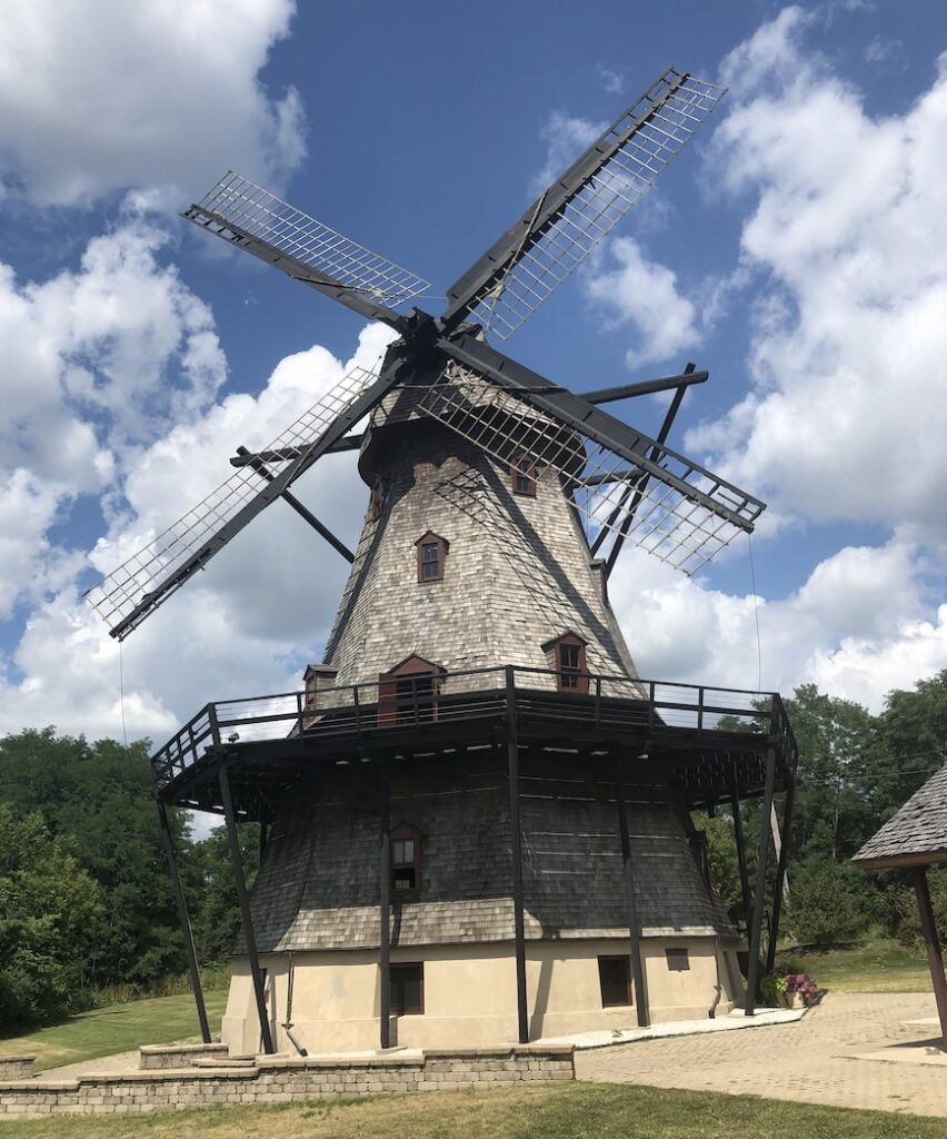 The exterior of the Fabyan Windmill.