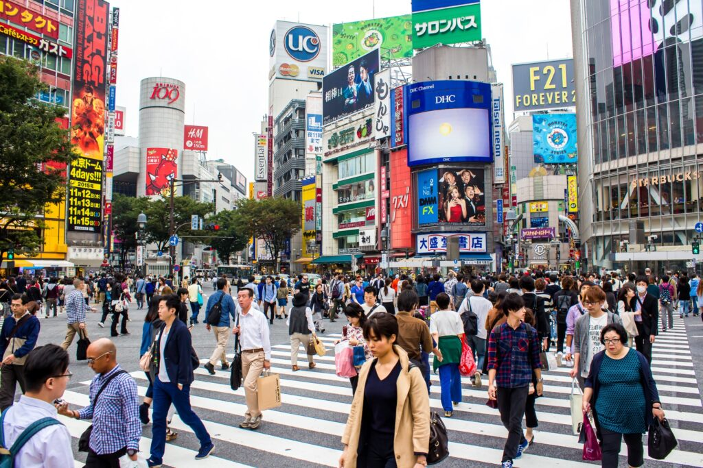 The famous Shibuya Crossing in Tokyo.