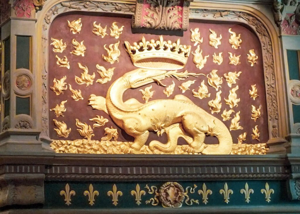 The fire-breathing salamander at the Chateau de Blois.