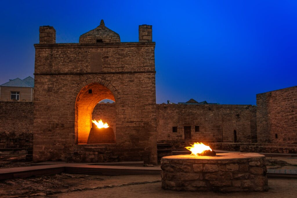 The Fire Temple of Ateshgah at night.