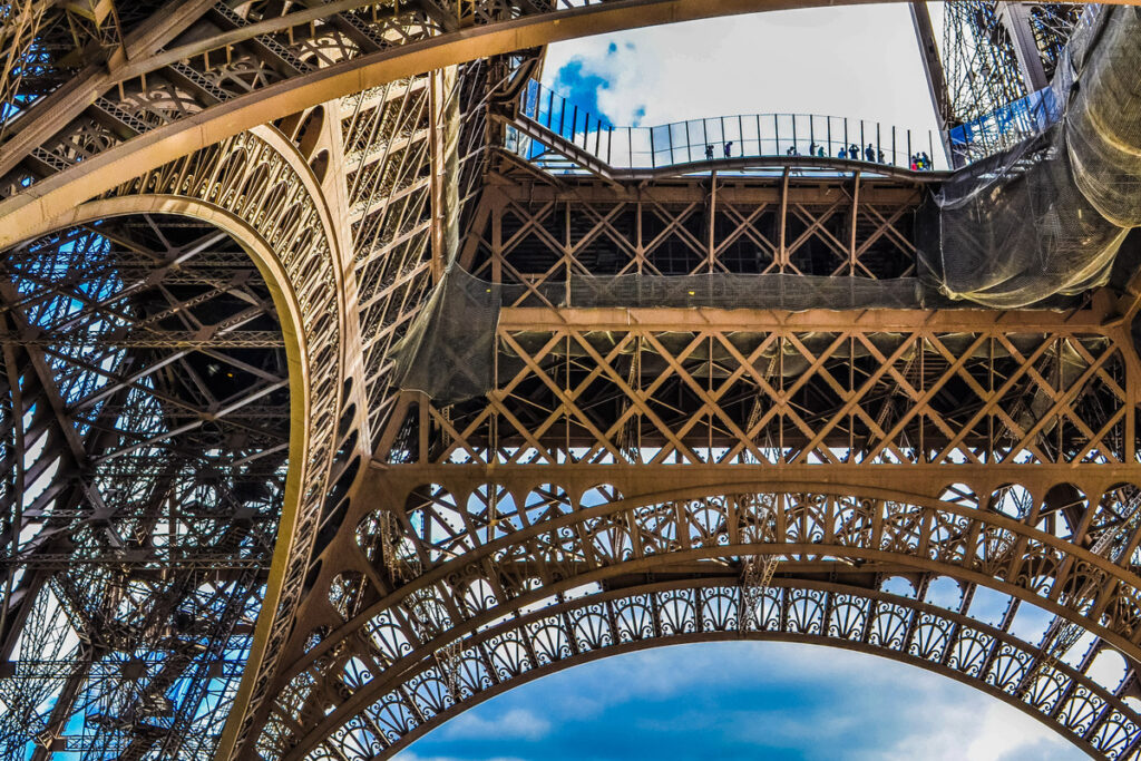 The first level of the Eiffel Tower.