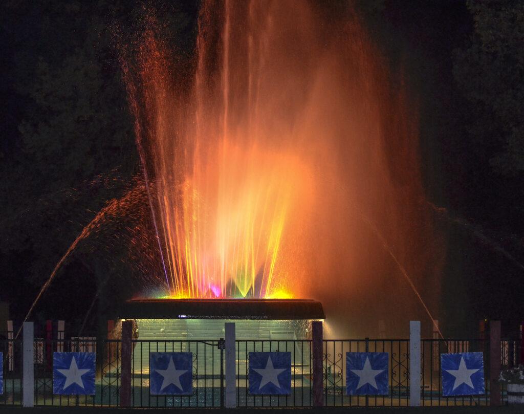 The Fisher Rainbow Fountain in Hastings, Nebraska.