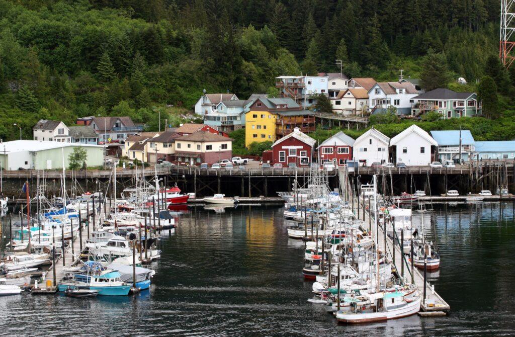 The fishing port of Ketchikan in Alaska.