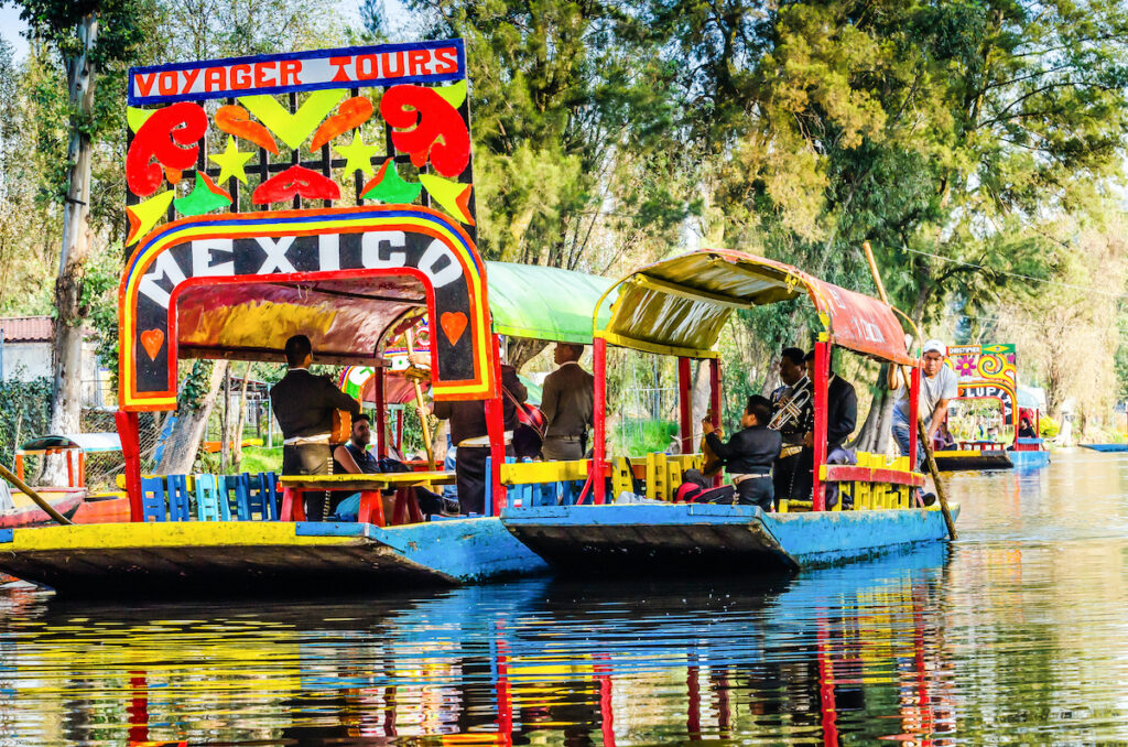 The floating gardens of Xochimilco in Mexico City.