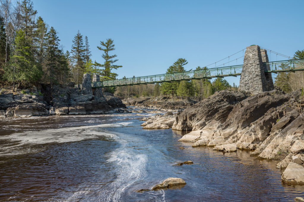 The foot bridge in Jay Cooke State Park.