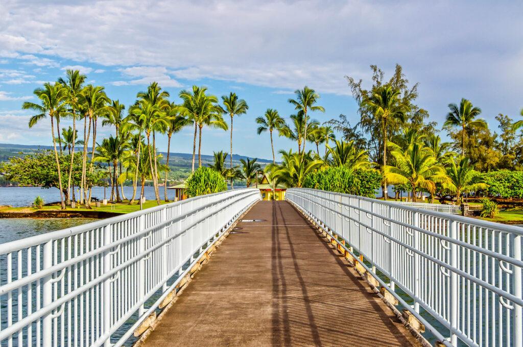 The footbridge to Coconut Island in Hawaii.