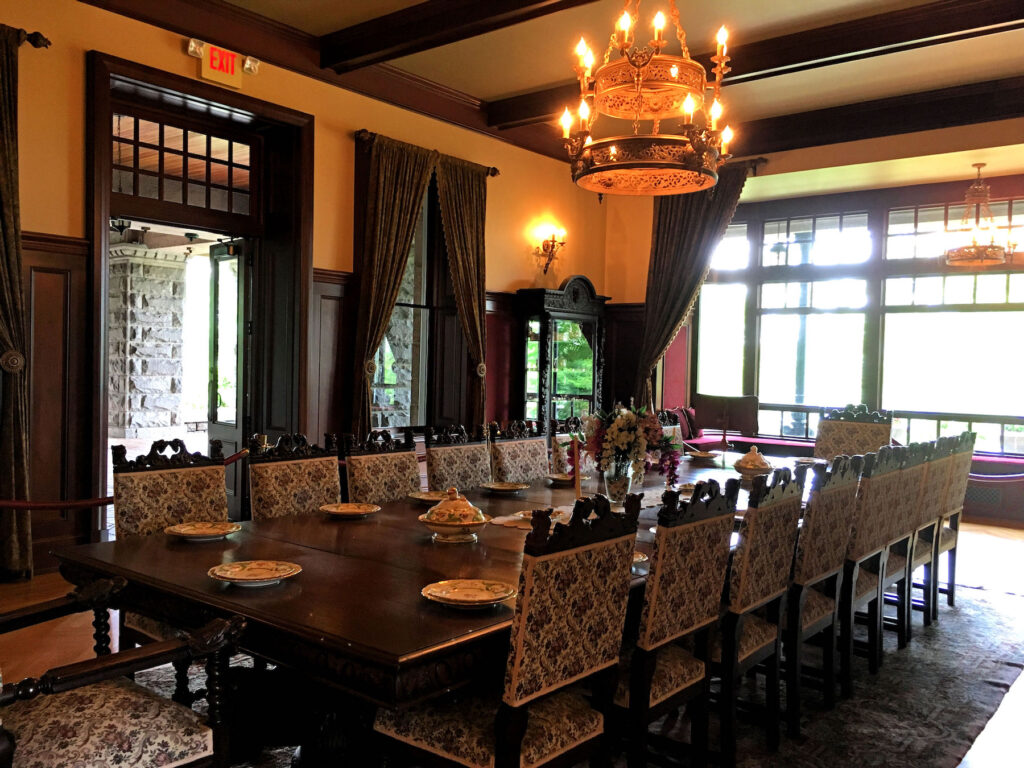 The formal dining room in Boldt Castle.