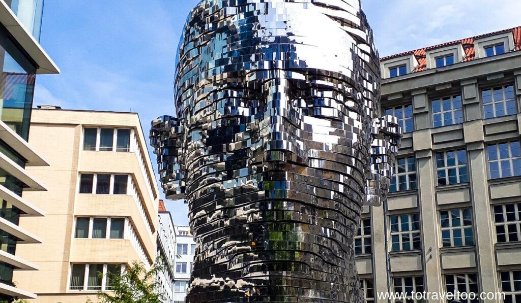 The Frank Kafka sculpture in Prague.