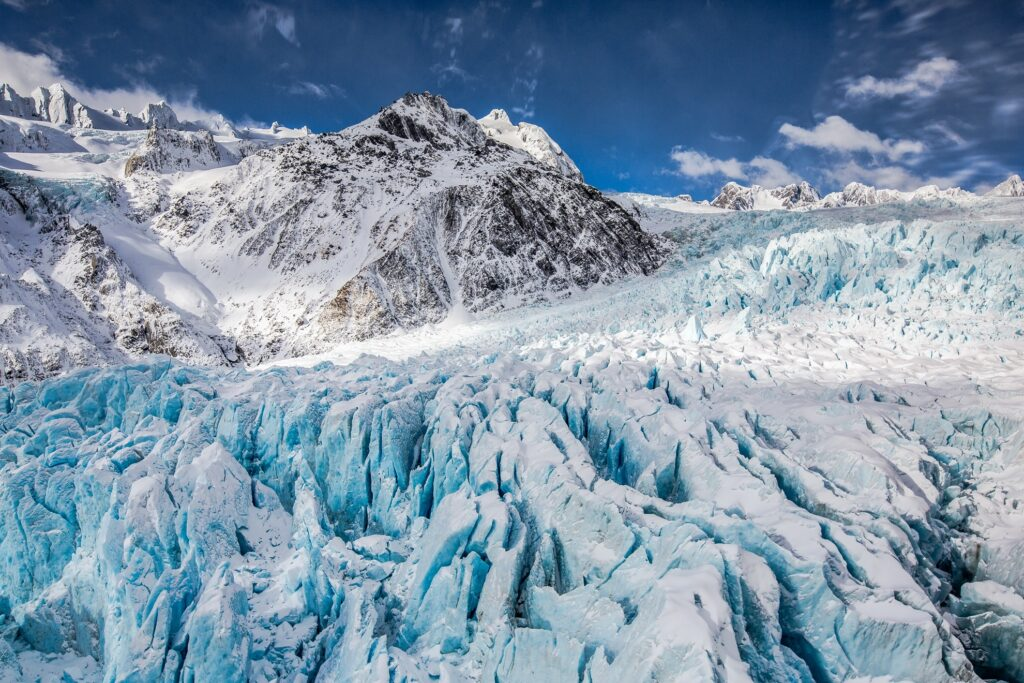 The Franz Josef Glacier in New Zealand.