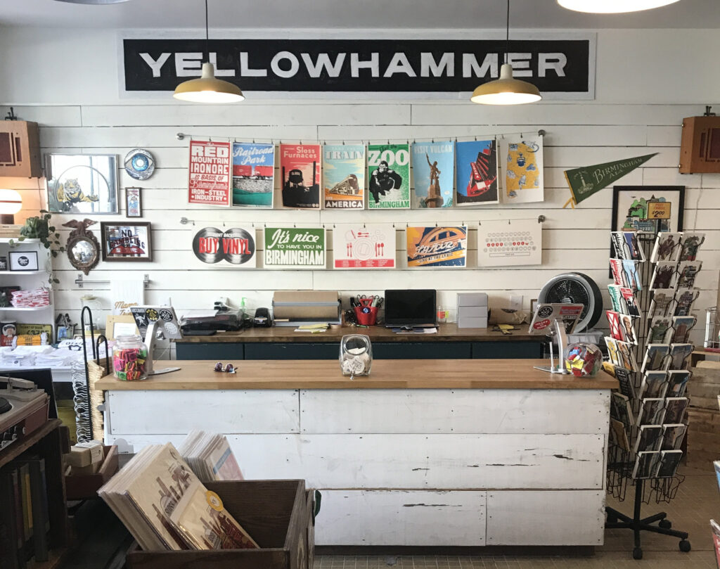 The front counter at Yellowhammer Creative.