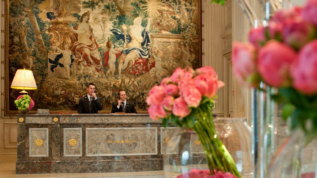 The front desk at the Four Seasons in Paris.