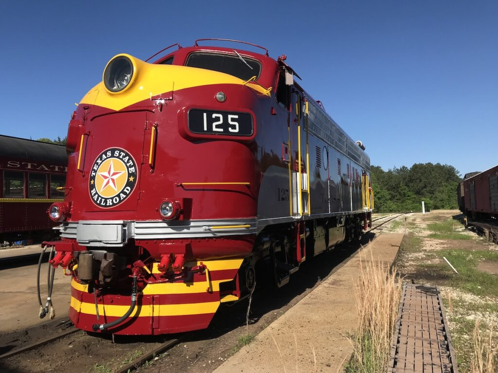 The front of a Texas State Railroad train.