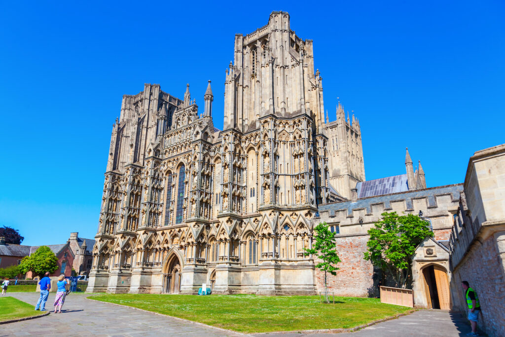 The front of Wells Cathedral in England.