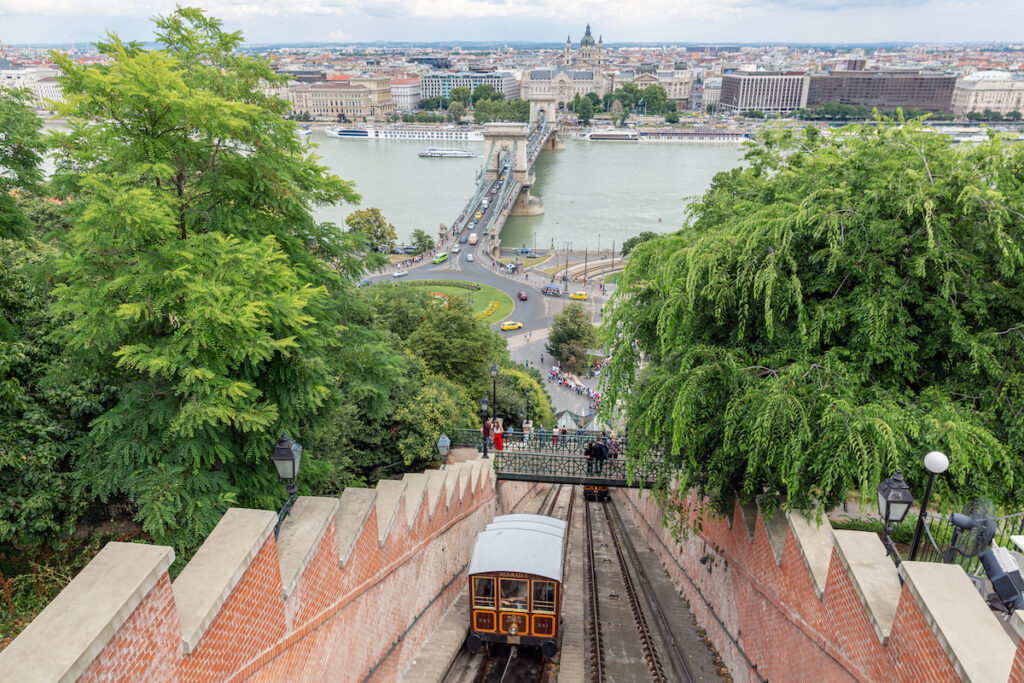 The funicular at Buda Castle Hill in Budapest, Hungary.