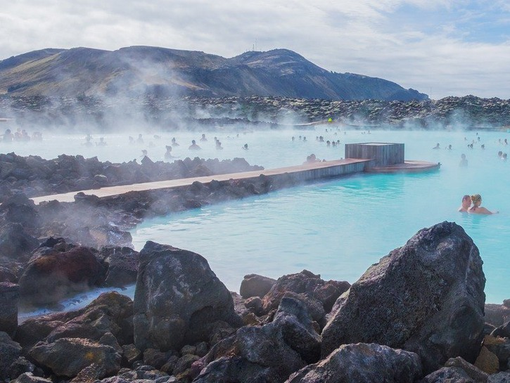 The geothermal hot springs of the Blue Lagoon in Iceland.