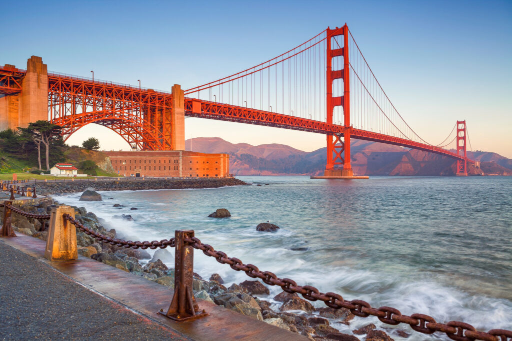 The Golden Gate Bridge in San Francisco, California.