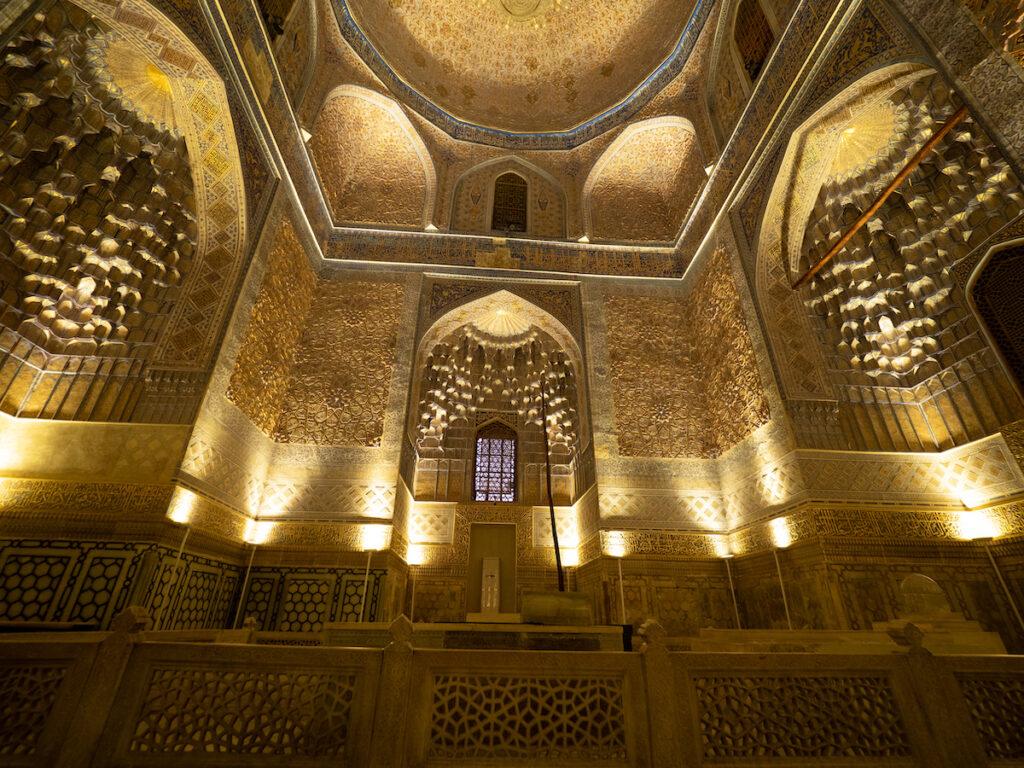 The golden interior of Gur-e Amir Mausoleum in Samarkand.