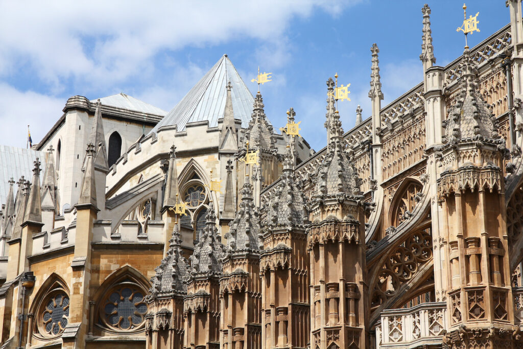 The Gothic architecture of Westminster Abbey.