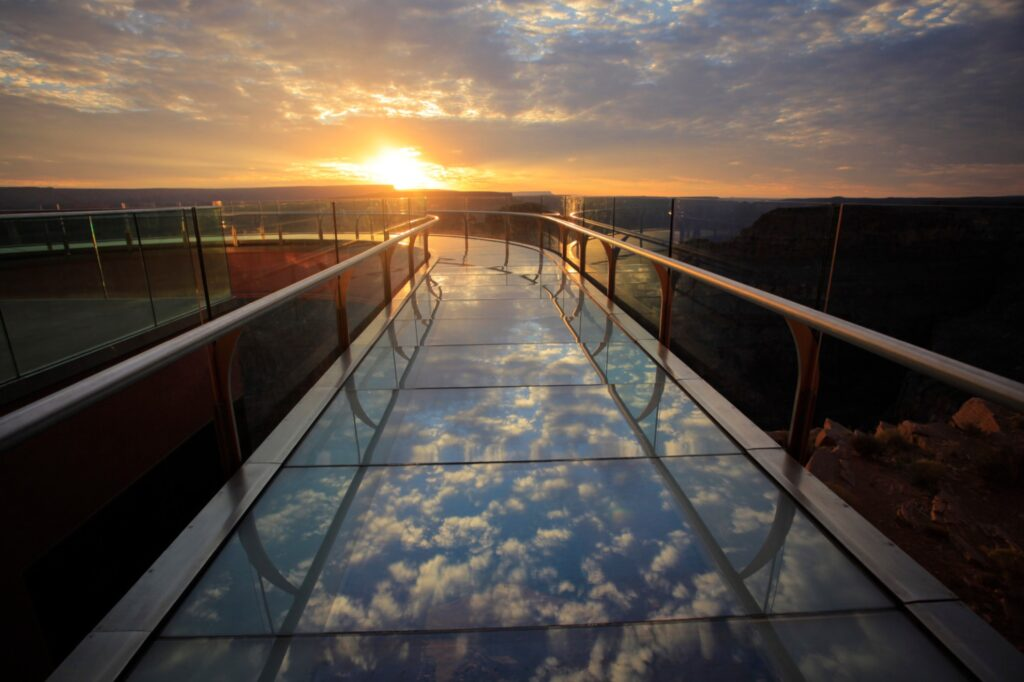 The Grand Canyon West Skywalk at sunset.