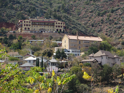 The Grand Hotel of Jerome, AZ, seen from down the hill