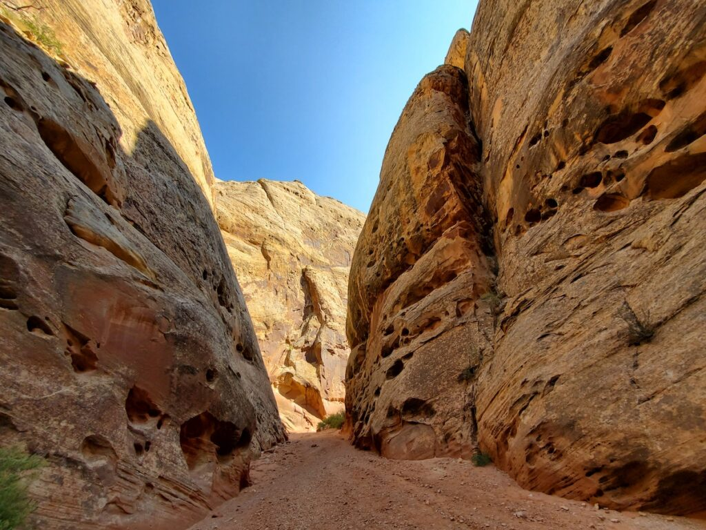 The Grand Wash Hiking Trail in Capitol Reef.